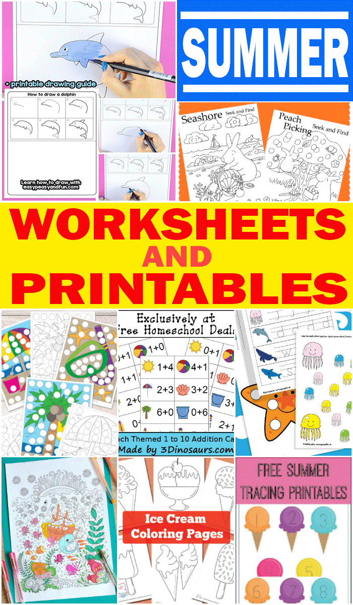 Summer Worksheets and Printables for Kids