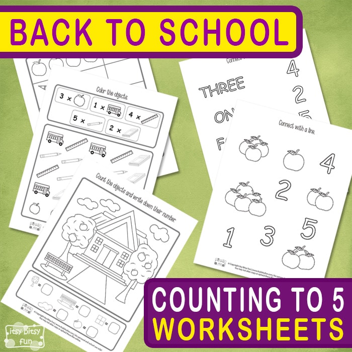Back to School Counting to 5 Worksheets