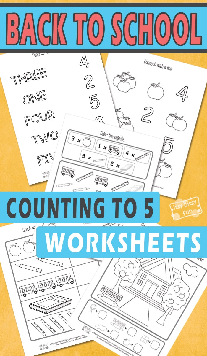 Back to School Counting to 5 Worksheets - Itsy Bitsy Fun