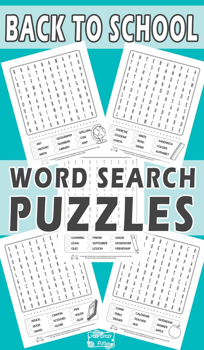 Back to School Word Search - Free Word Search Puzzles