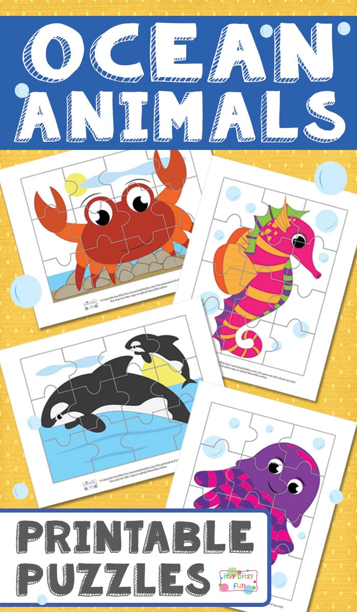Fun Ocean Animals Printable Puzzles