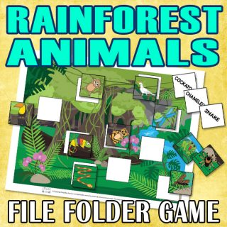 Rainforest Animals File Folder Game