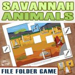 Printable Savannah Animals File Folder Game