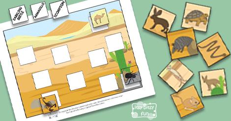 Printable Desert Animals File Folder Game Itsy Bitsy Fun