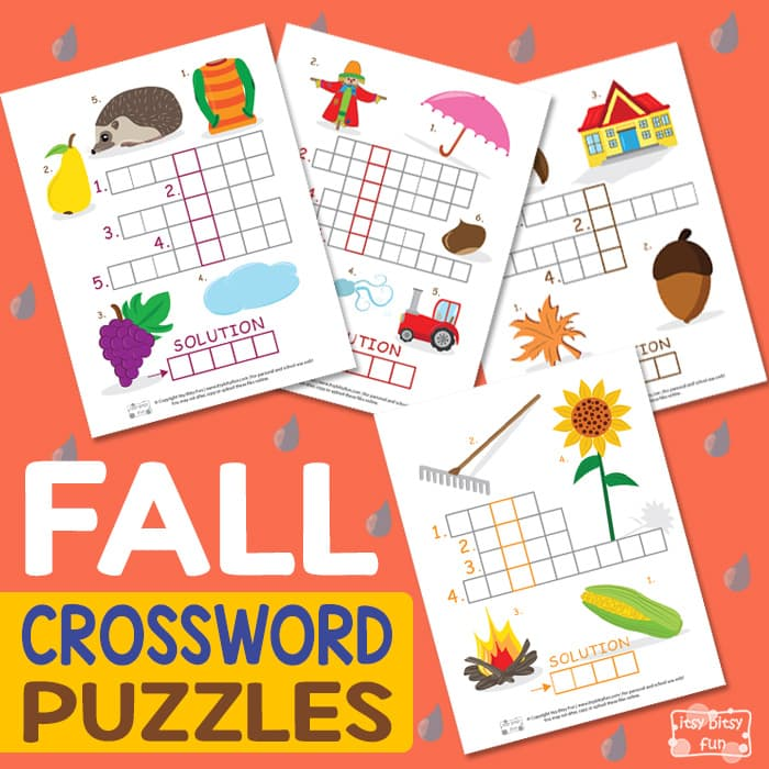 Printable Fall Crossword Learning Puzzles
