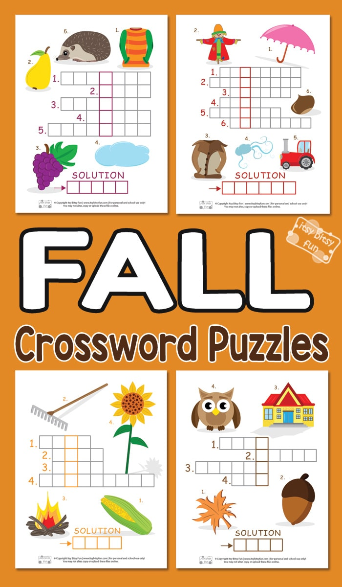 Printabe Fall Crossword Puzzles for Kids