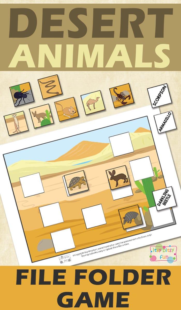 Desert Animals Free Printable File Folder Game for Kids
