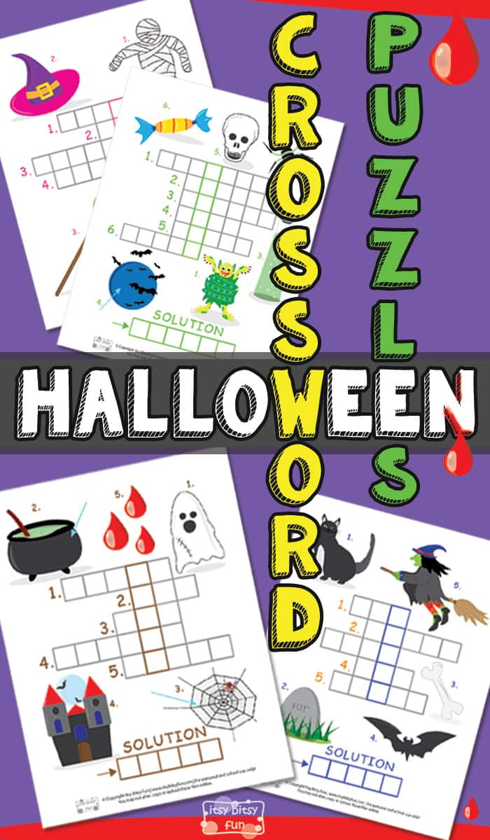 Spooky Halloween Printable Crossword Puzzles For Kids