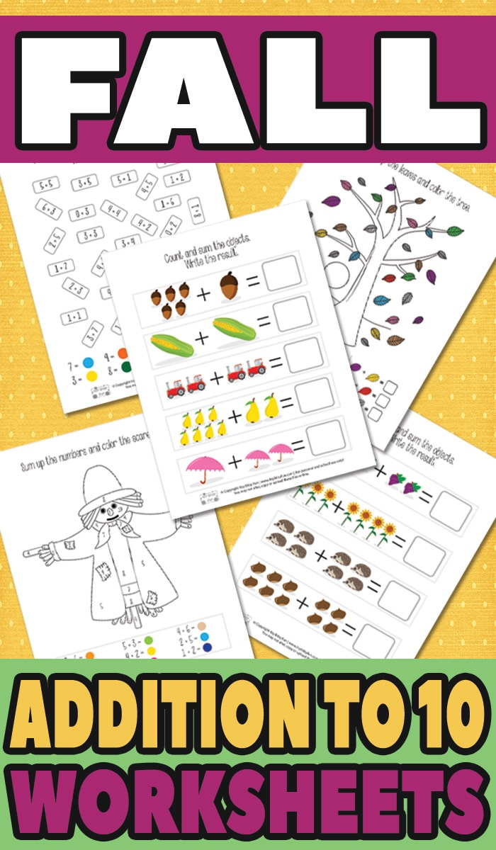 Free Printable Fall Addition Worksheets to 10