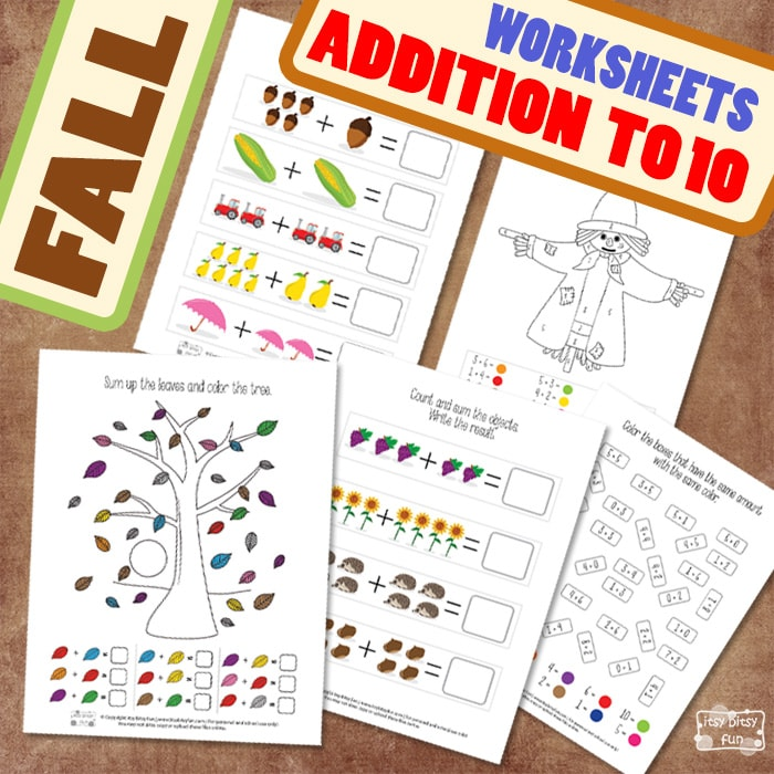 Fun Fall Addition to 10 Worksheets