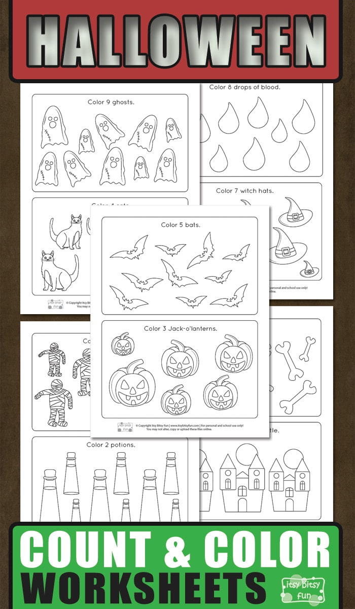 Halloween Counting and Coloring Free Printable Worksheets for Kids