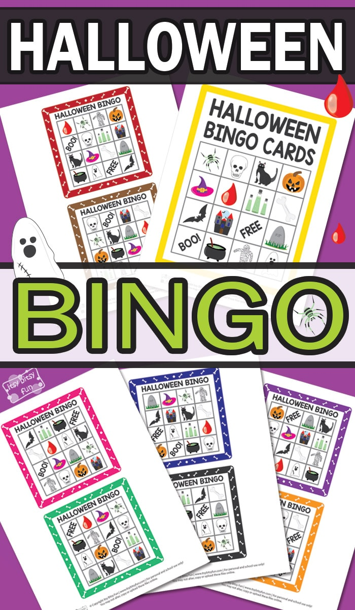 image relating to Printable Halloween Bingo identified as Printable Halloween Bingo Playing cards - Itsy Bitsy Enjoyable