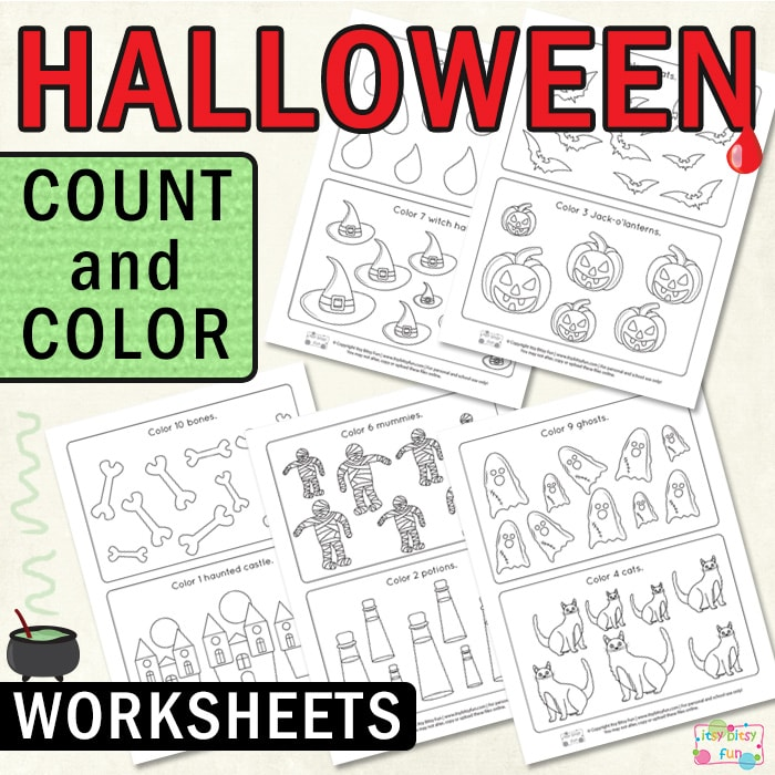 Halloween Count and Color Worksheets for Kids