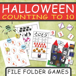 Halloween Counting to 10 File Folder Games