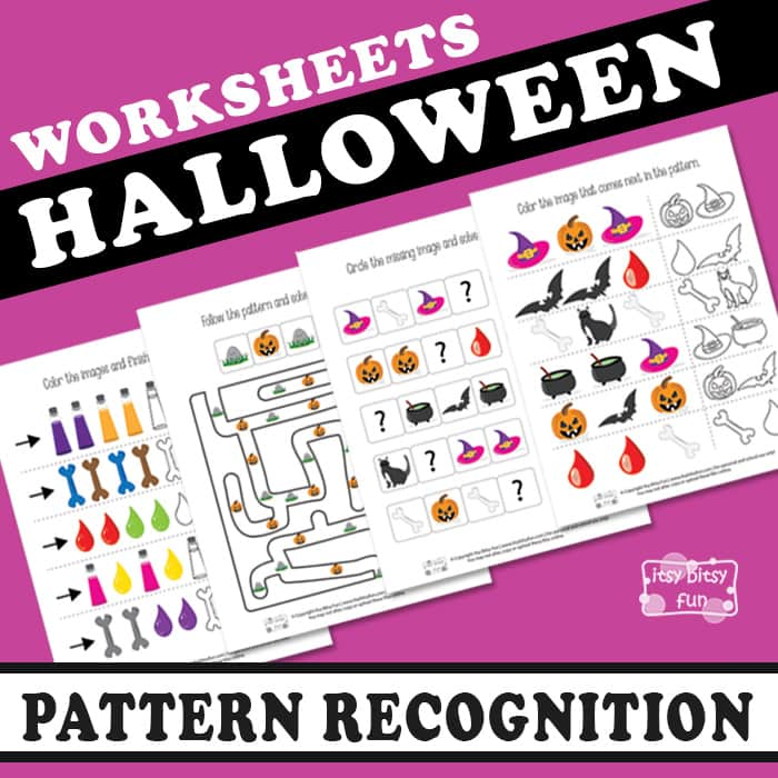 Printable Worksheets pattern recognition worksheets : Halloween Pattern Recognition Worksheets - Itsy Bitsy Fun