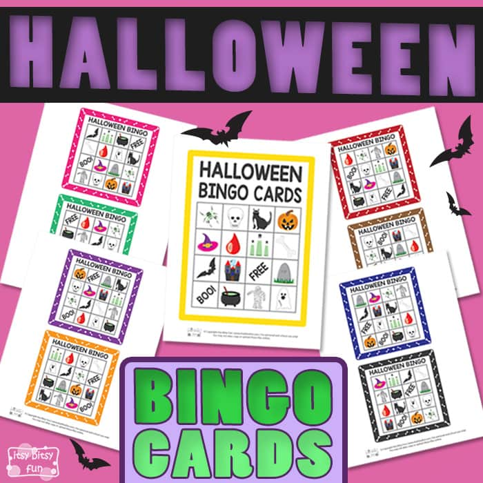 graphic relating to Printable Halloween Bingo Card referred to as Printable Halloween Bingo Playing cards - Itsy Bitsy Entertaining