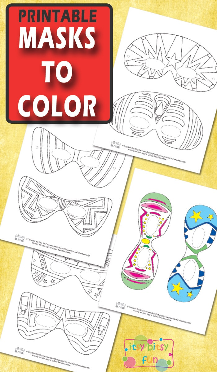Free Printable Halloween Masks for Kids to Color.