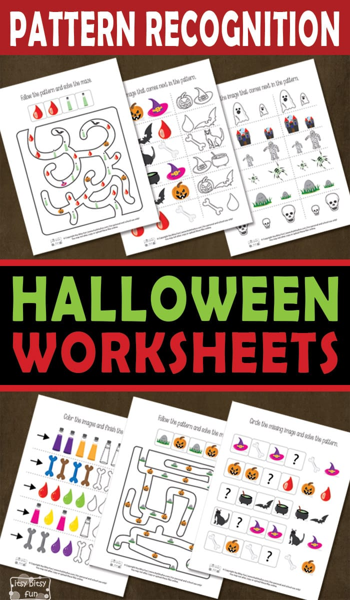 Free Printable Pattern Recognition Halloween Worksheets for Kids