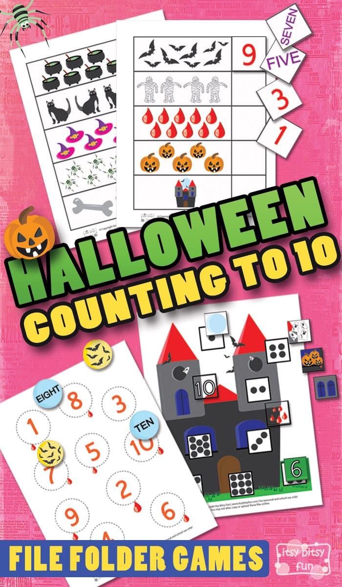 Free Printable Halloween Counting to 10 File Folder Game for Kids