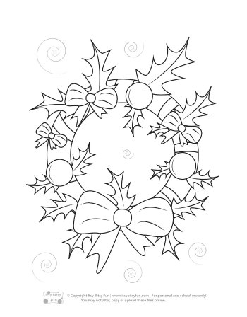 A Christmas Wreath Coloring Page