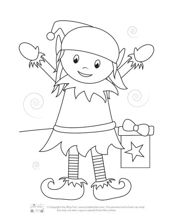 A Christmas Elf Girl Coloring Page