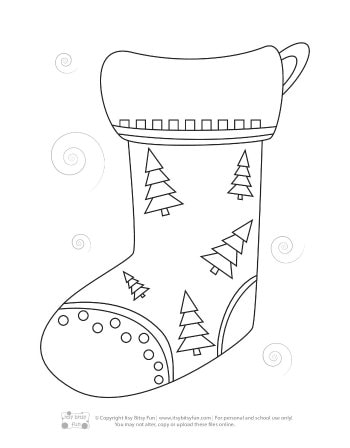 Christmas Stocking Coloring Page 07 | Free Christmas Stocking ... | 448x350