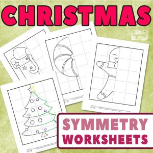 Christmas Lines of Symmetry Worksheets