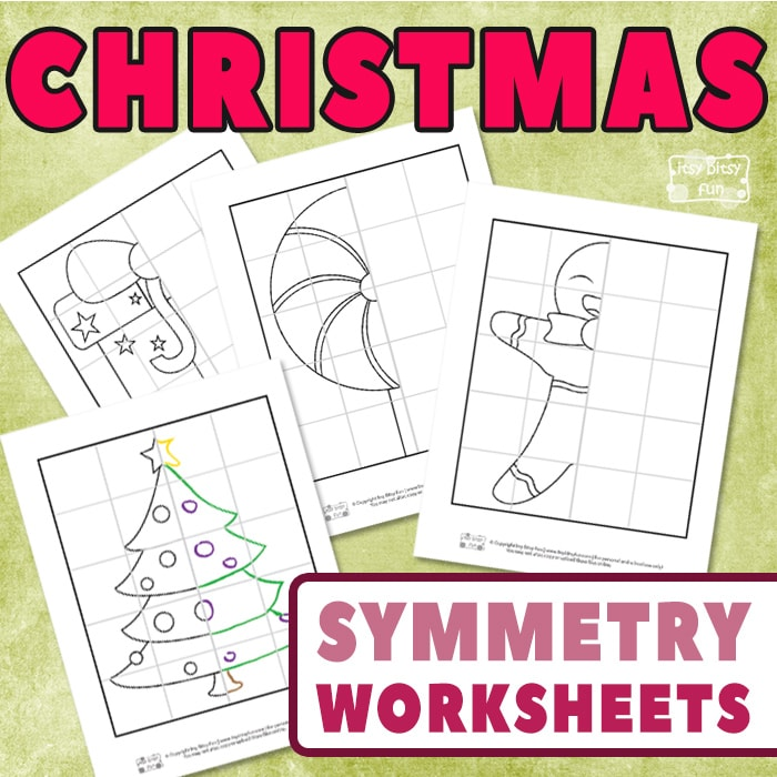 Christmas Drawing of Symmetry Worksheets