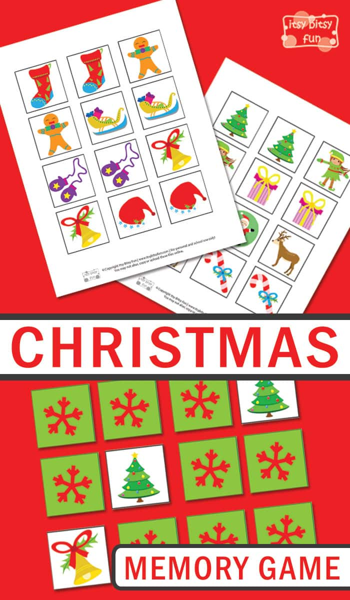 Free Printable Christmas Memory Game for Kids. Super fun Christmas activity for kids to have fun and practice memory.