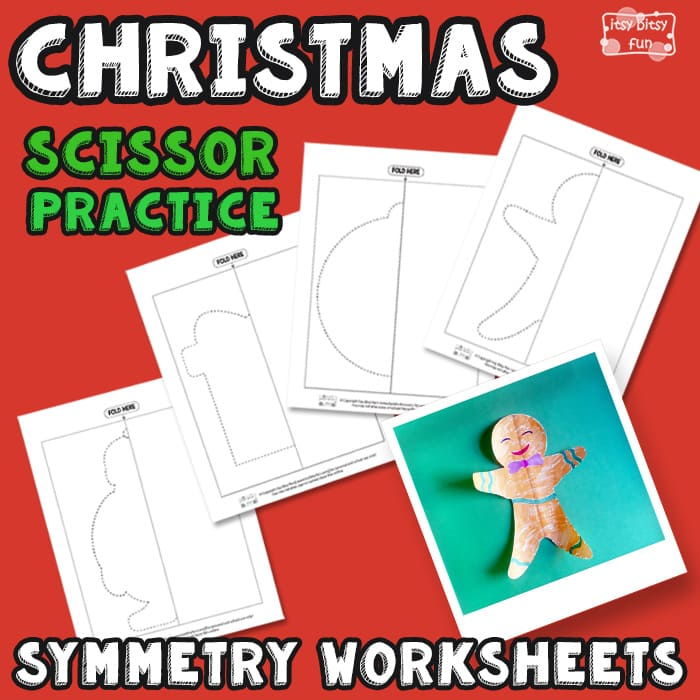 Christmas Scissor Practice Symmetry Worksheets for Kids