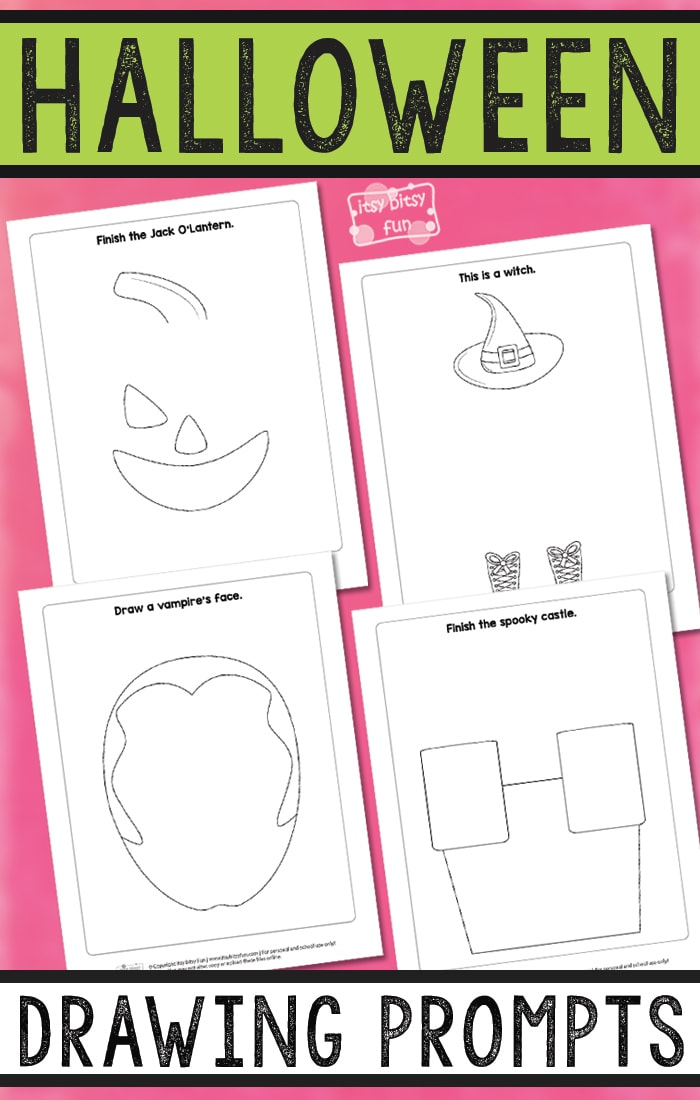 Free Printable Halloween Drawing Prompts for Kids. Fun Halloween activity for kids to do.