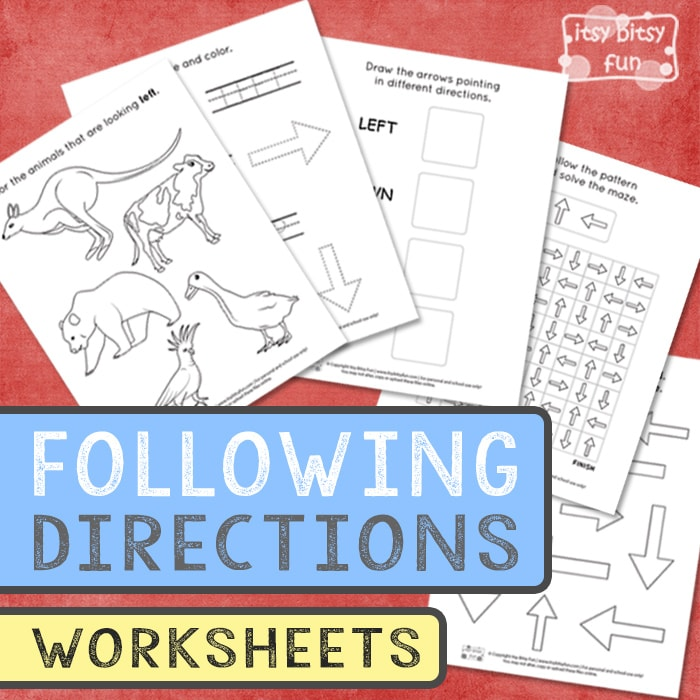 Following directions worksheets for kindergarten