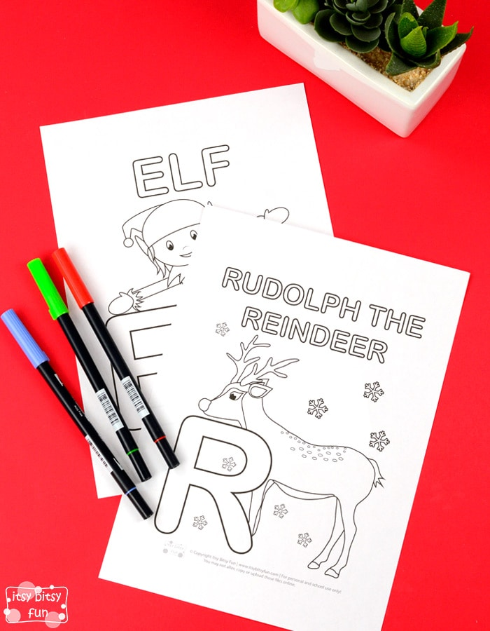 christmas alphabet coloring pages
