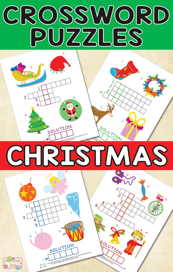 image relating to Free Printable Christmas Puzzles named Xmas Crossword Puzzles for Youngsters - Itsy Bitsy Enjoyable
