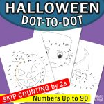Halloween Dot to Dot Skip Counting Worksheets by 2s