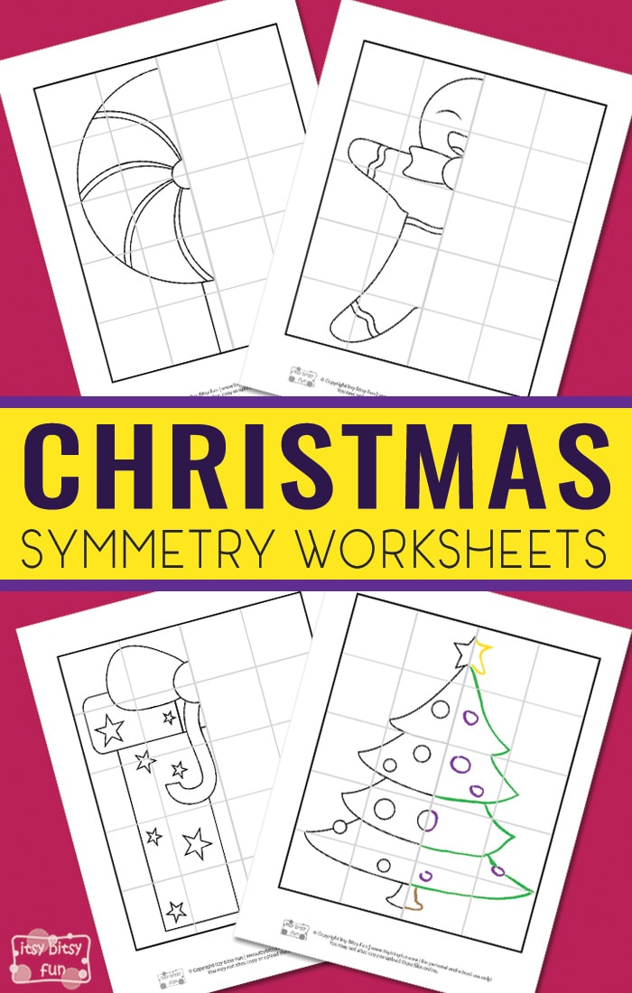 Free Printable Symmetry Worksheets for Kids. Fun Christmas printable activity for kids.