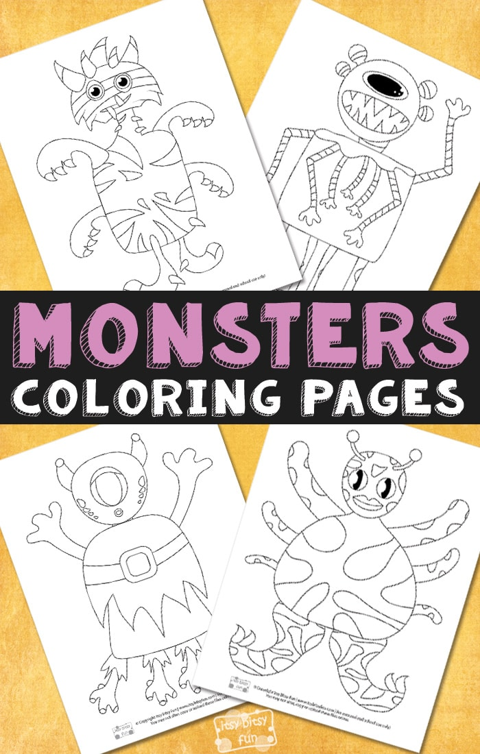 Monsters Free Printable Halloween Coloring Pages for Kids