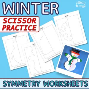 Winter Scissor Practice Symmetry Worksheets for Kids