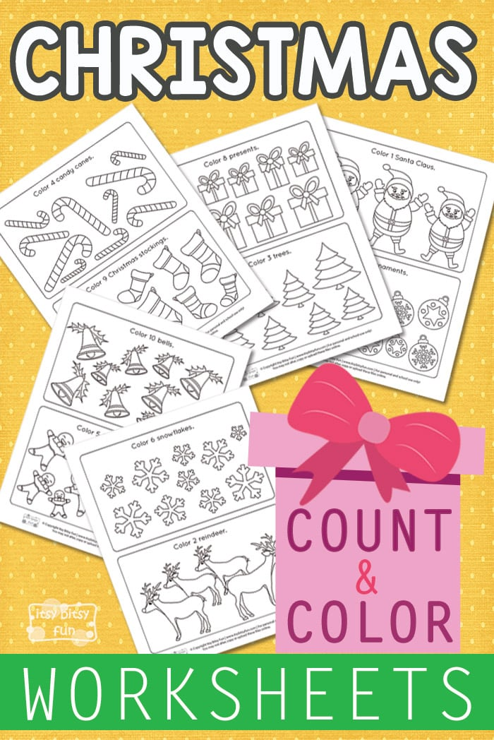 Christmas Count and Color Worksheets - Itsy Bitsy Fun