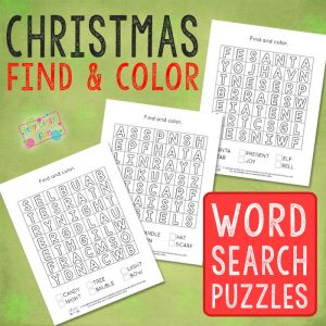 Christmas Find and Color Word Search Puzzles