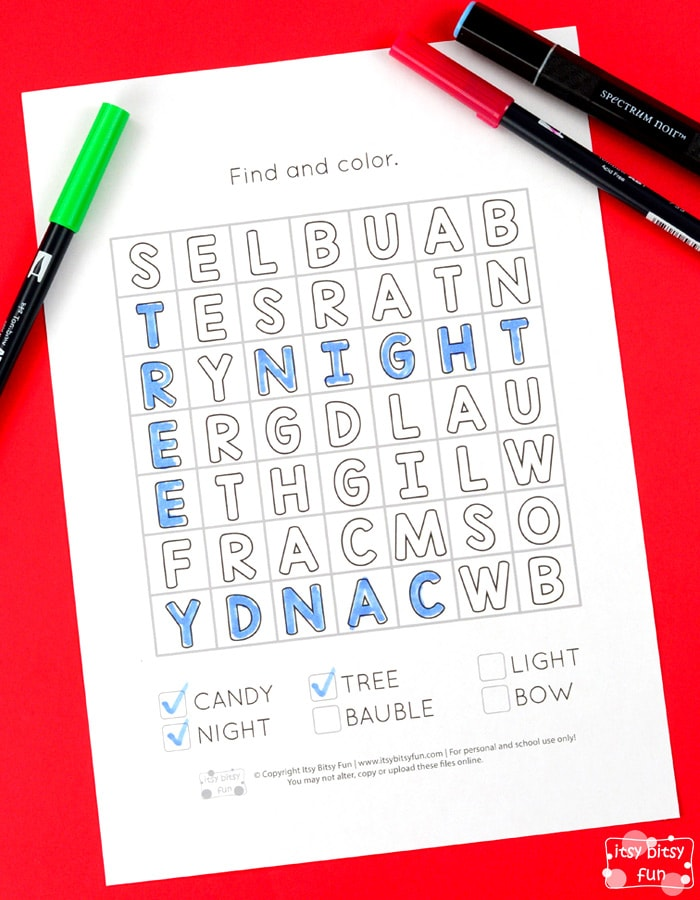 Christmas Find and Color Word Search Puzzles for Kids