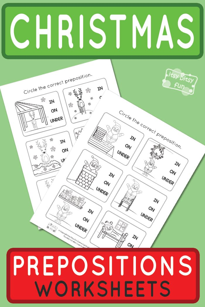 free printable Christmas Prepositions of Place Worksheets #Christmas worksheets for kids #freeprintablesforkids #freeworksheetsforkids