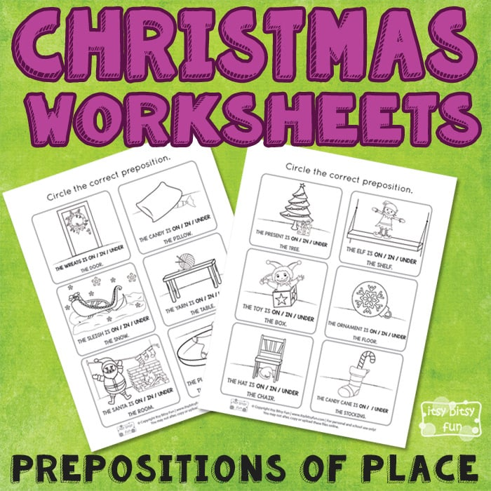 Free Christmas Prepositions Worksheets
