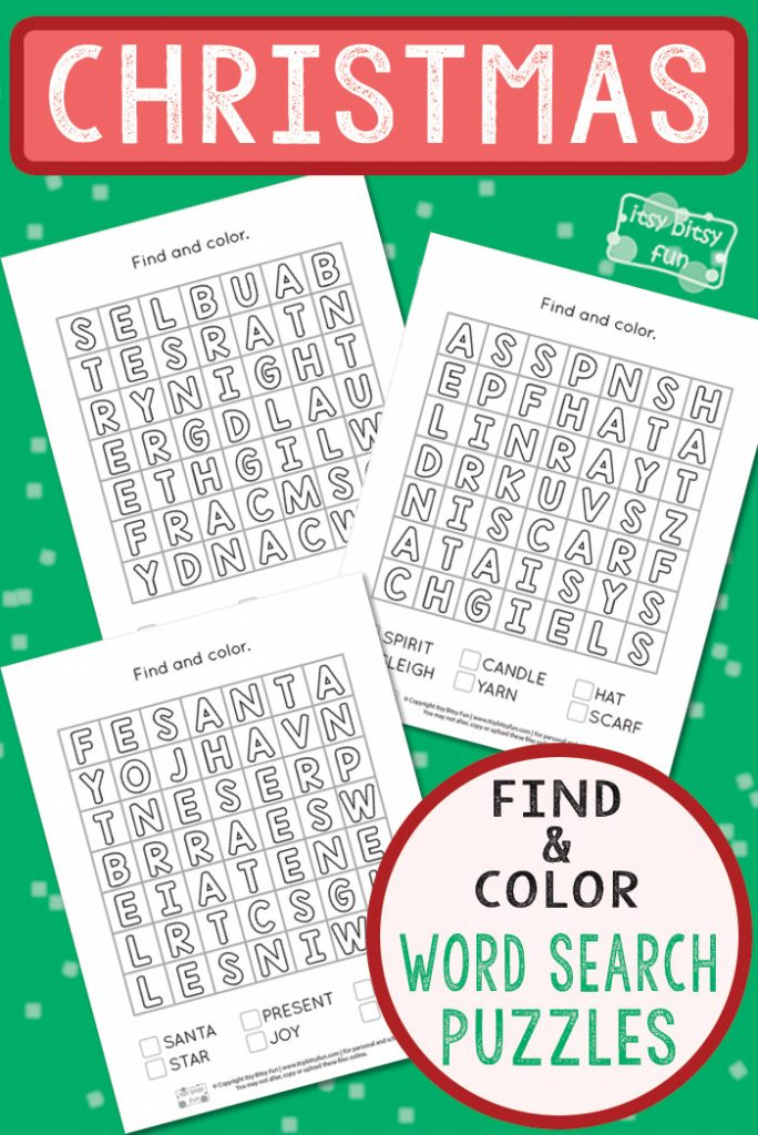 Free Printable Find and Color Word Search Puzzles #Christmasworksheets #freeprintablesforkids #freeworksheetsforkids