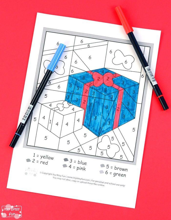 Christmas presents color by number worksheet for kids
