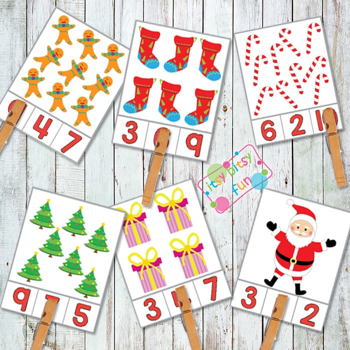Christmas Counting Clip Card