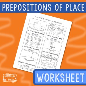 Circle the Preposition of Place - Worksheet