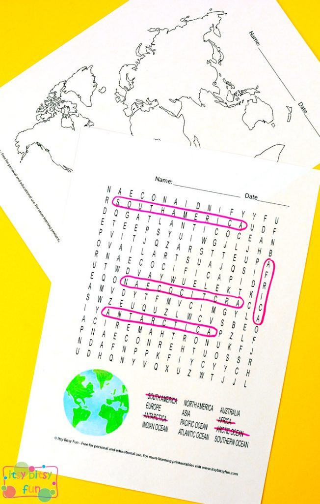 Continents And Oceans Worksheets Itsy Bitsy Fun - Name of continents