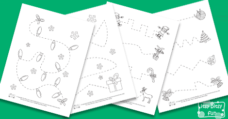 Drawing Lines Of Symmetry Free Worksheets : Christmas tracing worksheets itsy bitsy fun