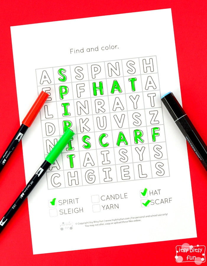 Free Christmas Find and Color Word Search Puzzles for Kids